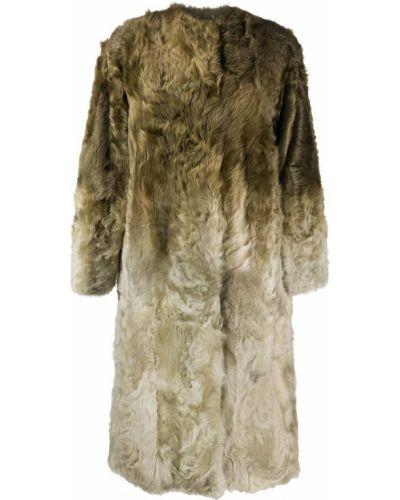 Однобортное зеленое длинное пальто из овчины Givenchy