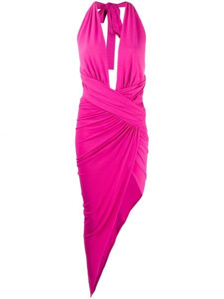 Różowa sukienka midi asymetryczna Alexandre Vauthier
