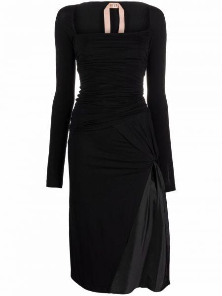 Платье макси с длинными рукавами - черное N°21