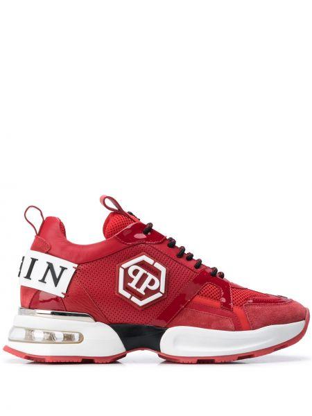 Sneakersy skorzane sznurowane koronkowe Philipp Plein