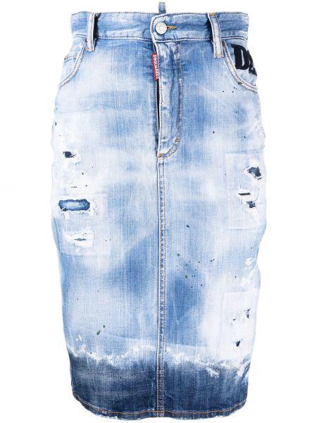 Bawełna niebieski z wysokim stanem dżinsowa spódnica z paskiem Dsquared2