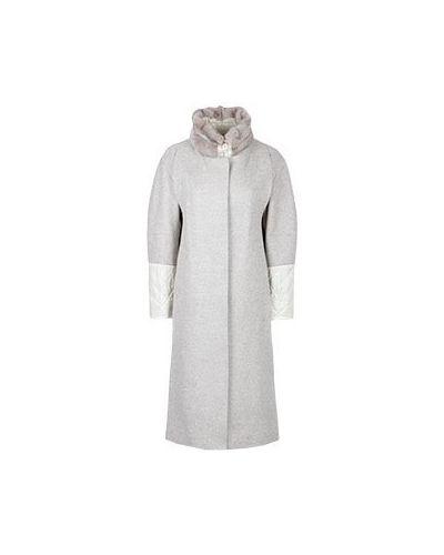 Бежевое шерстяное пальто Diego M