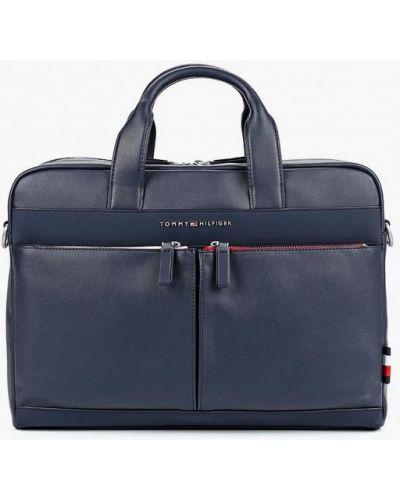 Синяя кожаная сумка Tommy Hilfiger