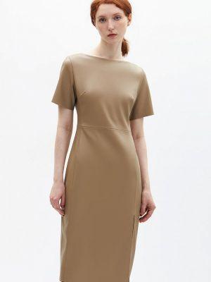 Бежевое кожаное платье Lime