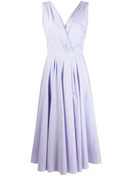 Фиолетовое платье миди с V-образным вырезом с драпировкой без рукавов Alexander Mcqueen