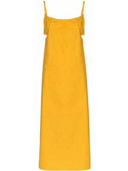 Хлопковое желтое плиссированное платье миди с вырезом Araks