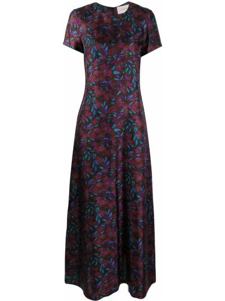 Коричневое шелковое с рукавами платье мини La Doublej