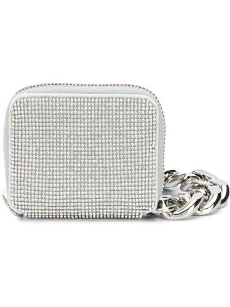 С ремешком серебряная сумка на цепочке прямоугольная Kara