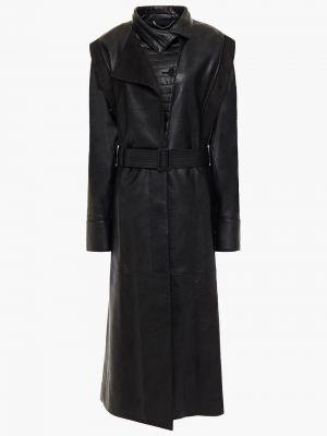 Стеганое кожаное черное пальто Stella Mccartney