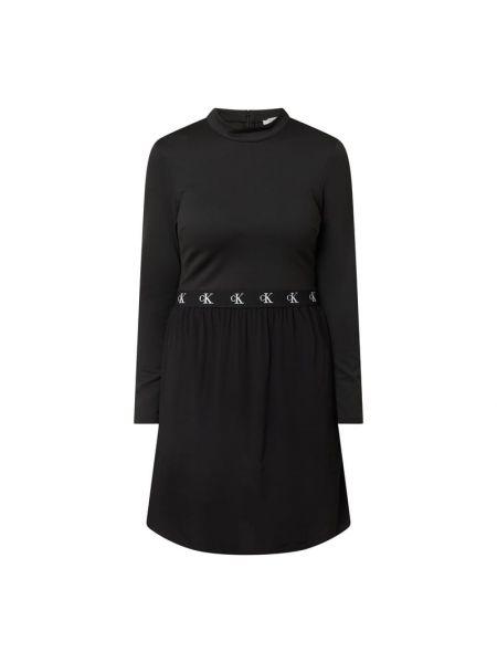 Czarny dżinsowa sukienka z zamkiem błyskawicznym z wiskozy z kieszeniami Calvin Klein Jeans