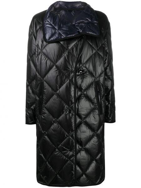 Стеганое черное стеганое пальто с воротником из вискозы Fay