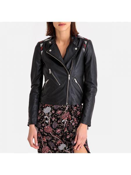 Черная кожаная куртка на молнии со вставками с лацканами Ikks