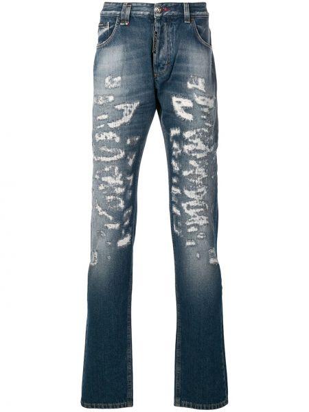 Bawełna bawełna niebieski jeansy o prostym kroju z kieszeniami Philipp Plein