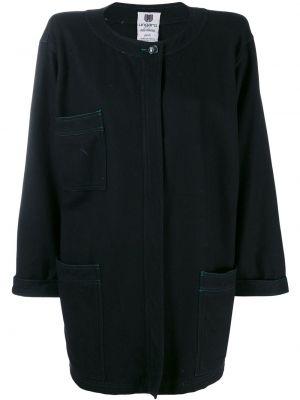 Черное шерстяное пальто с воротником с капюшоном Emanuel Ungaro Pre-owned
