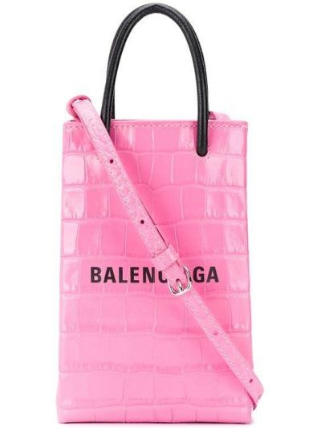 Розовая кожаная сумка через плечо с тиснением Balenciaga