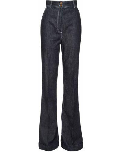 Хлопковые синие пляжные джинсы с высокой посадкой с карманами Philosophy Di Lorenzo Serafini