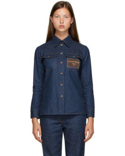 Синяя джинсовая рубашка с воротником с длинными рукавами Gucci
