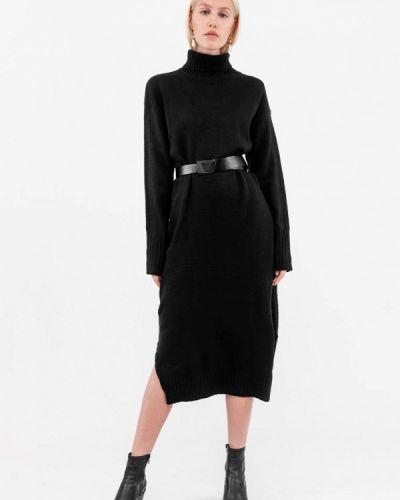 Вязаное трикотажное черное платье Dorogobogato