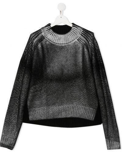 Шерстяное черное платье макси с вырезом Diesel Kids