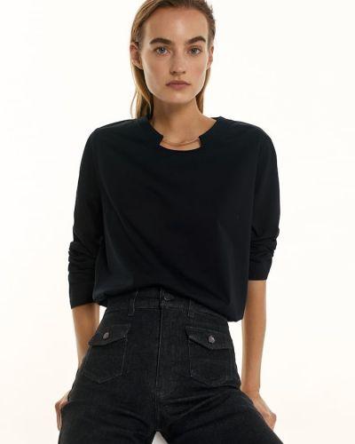 Черная футболка с длинными рукавами Massimo Dutti