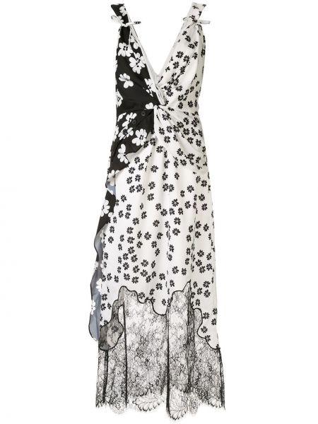 Платье миди с цветочным принтом с V-образным вырезом Self-portrait