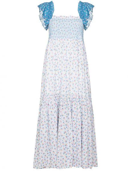 Хлопковое синее платье миди Loveshackfancy