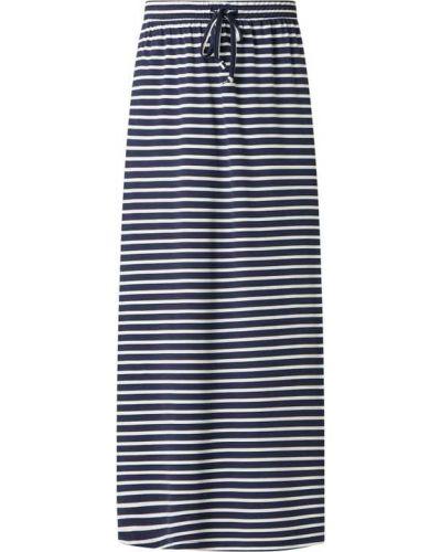 Niebieska spódnica maxi rozkloszowana w paski Vila