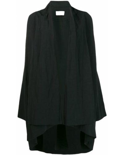 Черное длинное пальто с капюшоном Poiret