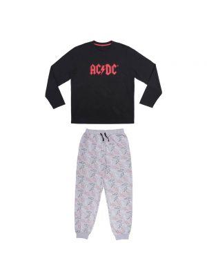 Czarna piżama bawełniana Acdc