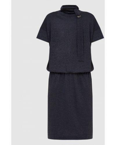 Синее платье миди с люрексом Brunello Cucinelli