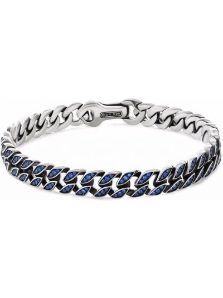 Bransoletka łańcuch srebrna - niebieska David Yurman