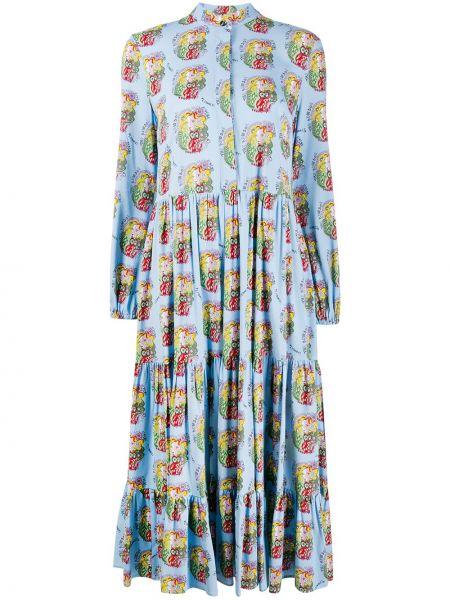 Синее платье миди на пуговицах с воротником из вискозы La Doublej