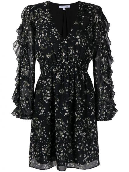 С рукавами черное платье макси с поясом Patrizia Pepe