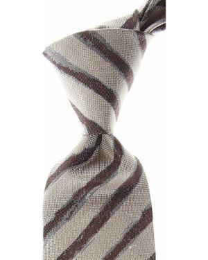 Brązowy krawat w paski z jedwabiu Isaia