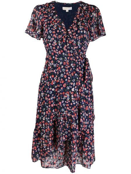 Синее платье мини с запахом на молнии с короткими рукавами Michael Michael Kors