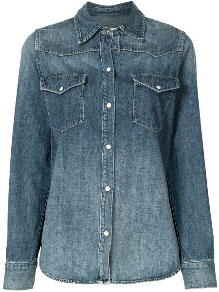 С рукавами синяя джинсовая рубашка с воротником на пуговицах Nili Lotan