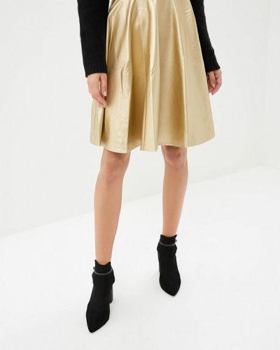Кожаная юбка польская золотой Makadamia