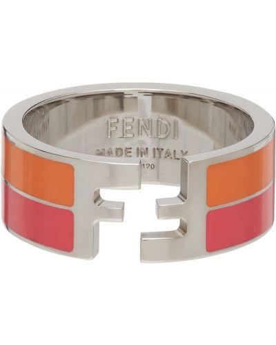 Różowy pierścionek srebrny Fendi
