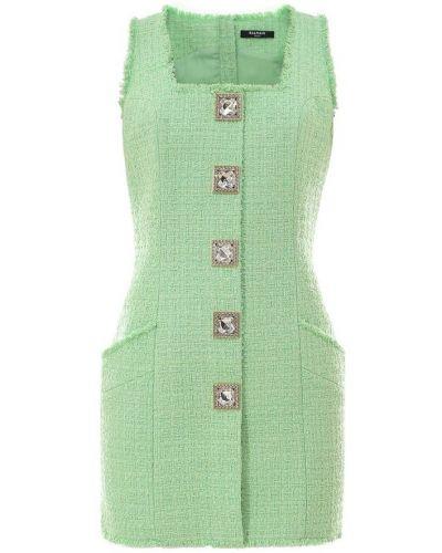 Zielona sukienka midi w kratę bez rękawów Balmain