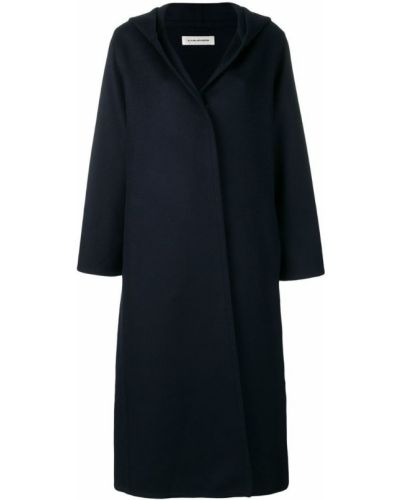 Синее длинное пальто с капюшоном с аппликациями A_plan_application