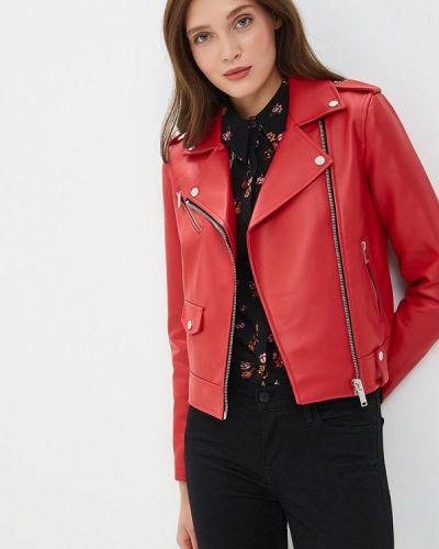 Кожаная куртка весенняя красная Modis