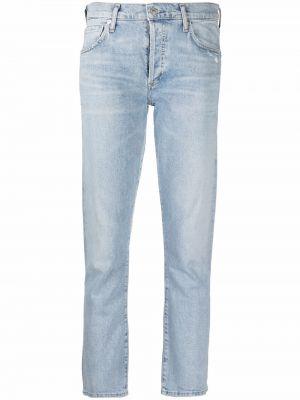 Синие укороченные прямые джинсы с заплатками Citizens Of Humanity