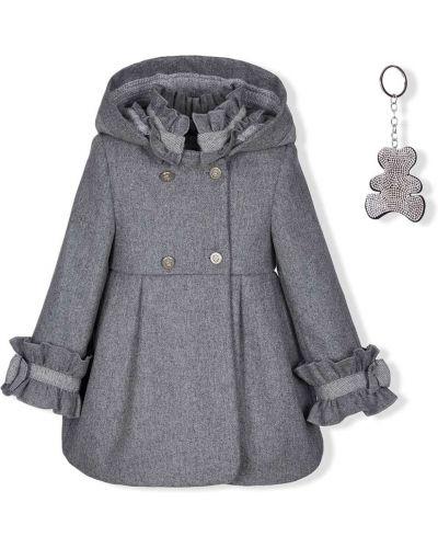Серое шерстяное пальто классическое с капюшоном Lapin House