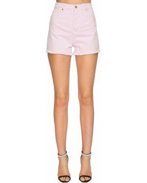 Розовые кожаные джинсовые шорты с карманами Alexandre Vauthier