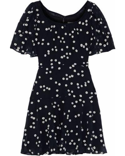 Czarna sukienka mini z jedwabiu z haftem Rebecca Taylor