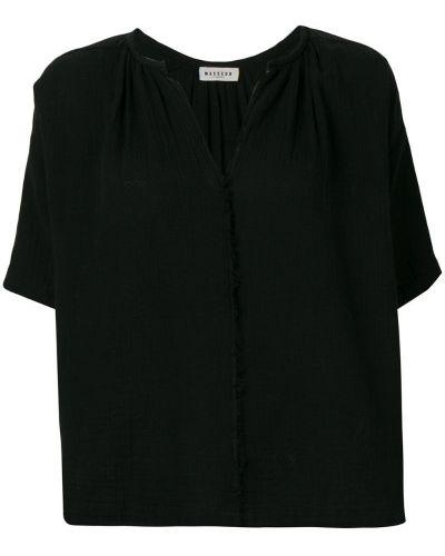 Блузка с коротким рукавом черная с разрезом Masscob