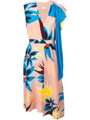 Платье с поясом розовое с цветочным принтом Delpozo