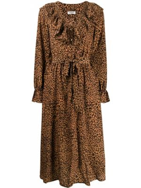 Платье миди на пуговицах - коричневое Jovonna