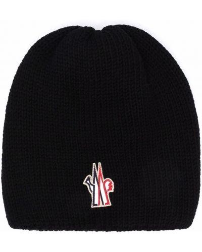 Черная шерстяная шапка бини Moncler