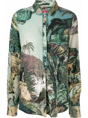 Шелковая рубашка - зеленая F.r.s. For Restless Sleepers